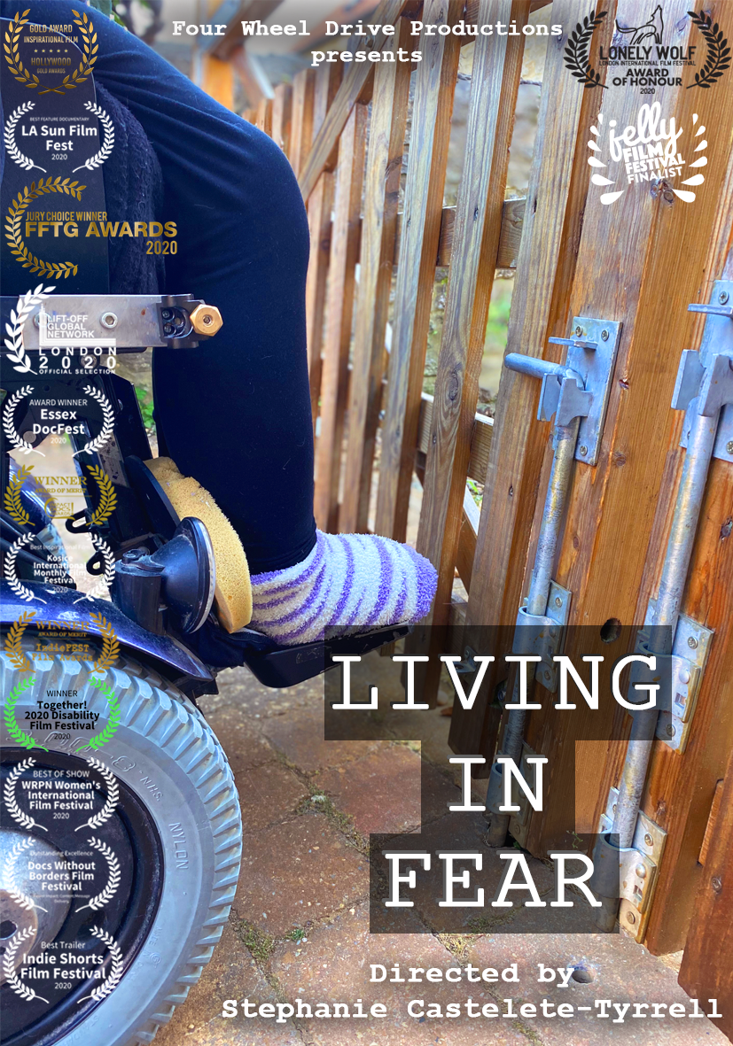 Living In Fear poster - Stephanie in a wheelchair sat towards a gate